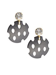 Saks Fifth Avenue Mesh Chip Crystal Stud Earrings Gold