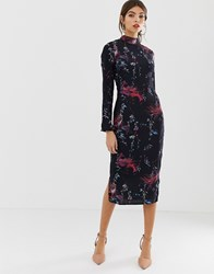 Hope And Ivy Bird Print Fitted Pencil Dress Navy