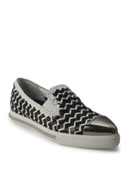 Miu Miu Two Tone Woven Leather Cap Toe Loafers Black White