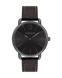 Coach 40Mm Delancey Slim Leather Watch Black