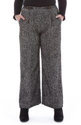 Elvi Plus Size Women's Tweed Wide Leg Trousers