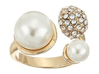 Guess Pearl And Pave Ball Bypass Ring Gold Crystal Pear Ring