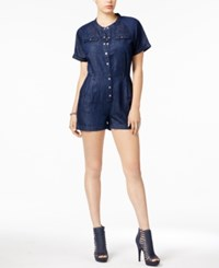 Guess Boiler Chambray Romper Rinse Wash