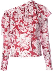 Robert Rodriguez Floral Print Top Women Silk Cotton 6 Red