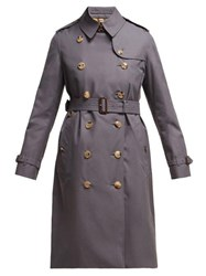Burberry Kensington Long Cotton Gabardine Trench Coat Grey