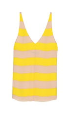 Tibi Striped Silk Refined Tank