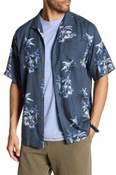 Tommy Bahama Where The Palm Frond Grows Original Fit Short Sleeve Silk Shirt Blue
