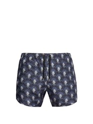 Neil Barrett Palm Print Swim Shorts Blue