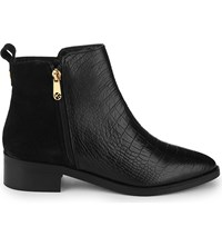Kg By Kurt Geiger Sabre Crocodile Embossed Leather Ankle Boots Black