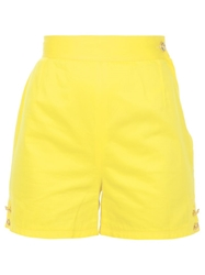 Versace Vintage Button Detail Shorts Yellow And Orange