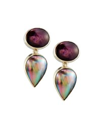 Stephen Dweck Star Ruby And Mabe Pearl Double Drop Earrings