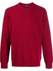 Theory Crew Neck Jumper Red