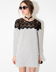 Pixie Market Stripe Lace Tunic