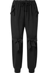 Simone Rocha Bow Embellished Stretch Jersey Track Pants Black