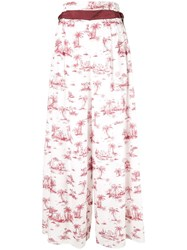 Loveless Palm Print Palazzo Pants White