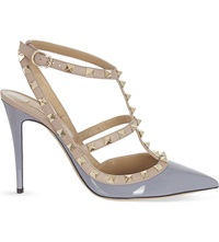 Valentino Rockstud 100 Patent Leather Heeled Courts Grey Mid