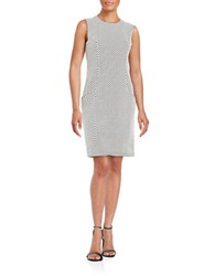 Karl Lagerfeld Geometric Knit Sheath Dress Blanc Nior
