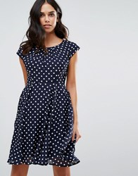 Qed London Polka Dot Skater Dress Navy White