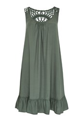 Hallhuber Smock Dress With Crochet Lace Green