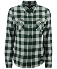 Levi's Women's New York Jets Plaid Button Up Shirt White Green