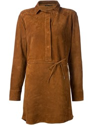 Rag And Bone Rag And Bone Goat Skin Shirt Dress Brown