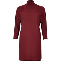 River Island Womens Red Dark Red Turtleneck Swing Dress