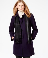 London Fog Peacoat With Plaid Scarf Deep Purple