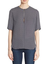 Theory Antazie Tile Print Silk Blouse Dark Navy Ivory