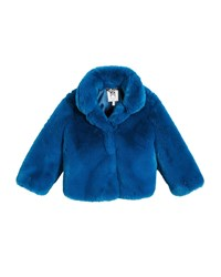 Milly Minis Faux Fur Jacket Teal