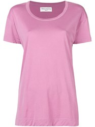 Officine Generale Loose Fit T Shirt Pink And Purple
