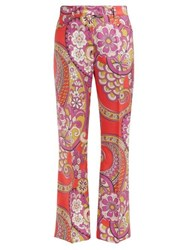 Etro Coconuts Paisley Print Silk Trousers Red Multi