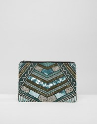 Little Mistress Blue Sequin And Gold Embellished Clutch Multi