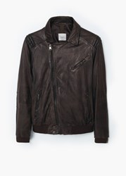 Mango Leather Biker Jacket Medium Brown
