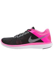 Nike Performance Flex 2016 Run Lightweight Running Shoes Black Metallic Cool Grey Pink Blast White