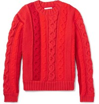 Helmut Lang Cable Knit Sweater Red