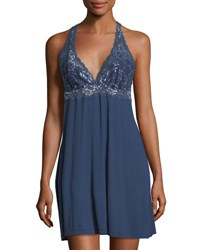 Fleurt Front Cross Over Lace Chemise Dark Blue