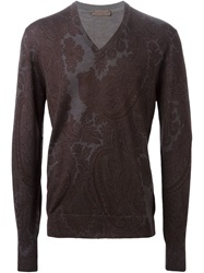 Etro Paisley Print Sweater Brown