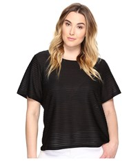 Calvin Klein Plus Size Short Sleeve Sheer Stripe Top Black Women's Clothing