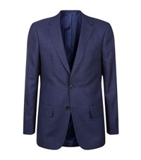 Gieves And Hawkes Wool Silk Linen Jacket Male Blue