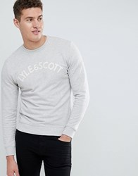 Lyle And Scott Embroidered Logo Sweat In Grey White