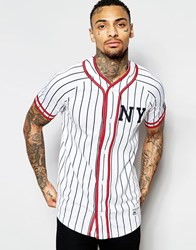 Majestic New York Baseball Top With Stripes White