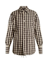 Helmut Lang Quilted Gingham Cotton Flannel Jacket Black White