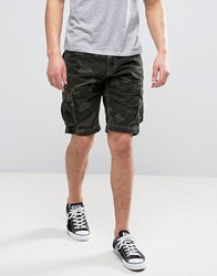 Solid Cargo Shorts In Camo 3784 Green