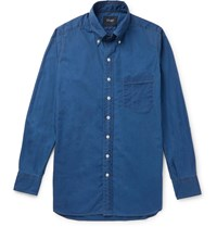 Drakes Drake's Slim Fit Button Down Collar Cotton And Linen Blend Shirt Blue