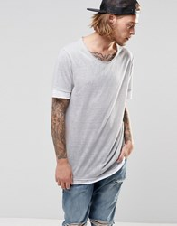 Asos Longline T Shirt In Linen Look With Contrast Trim In White White