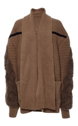 Azede Jean Pierre Camel Oversized Cableknit Cardigan Brown