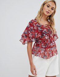 Urban Bliss Misha Lace Up Ruffle Front Blouse Red