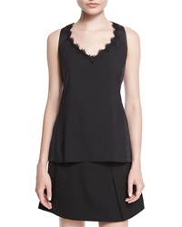 Nanette Lepore Sleeveless V Neck Tank W Lace Detail Black