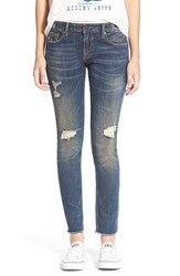 Junior Women's Vigoss Destroyed Skinny Jeans Dark Wash