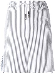 Toga Striped Tie Waist Shorts Women Cotton 40 White
